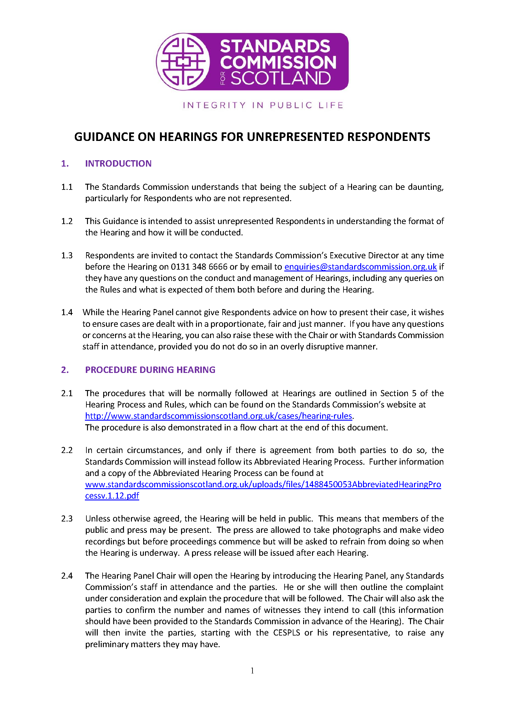 Guidance for Unrepresented Respondents