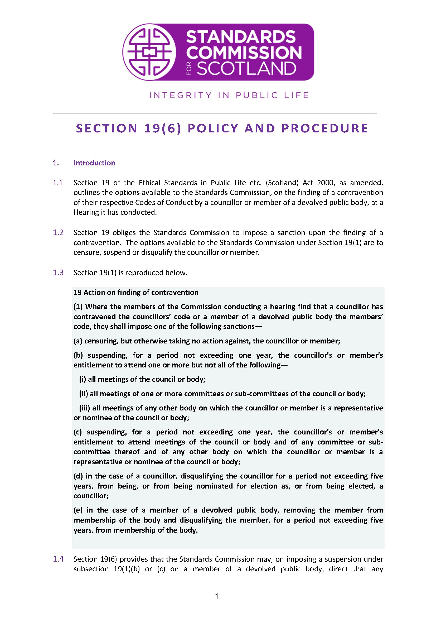 Section 19(6) Policy - Imposing a suspension on a member of a devolved public body