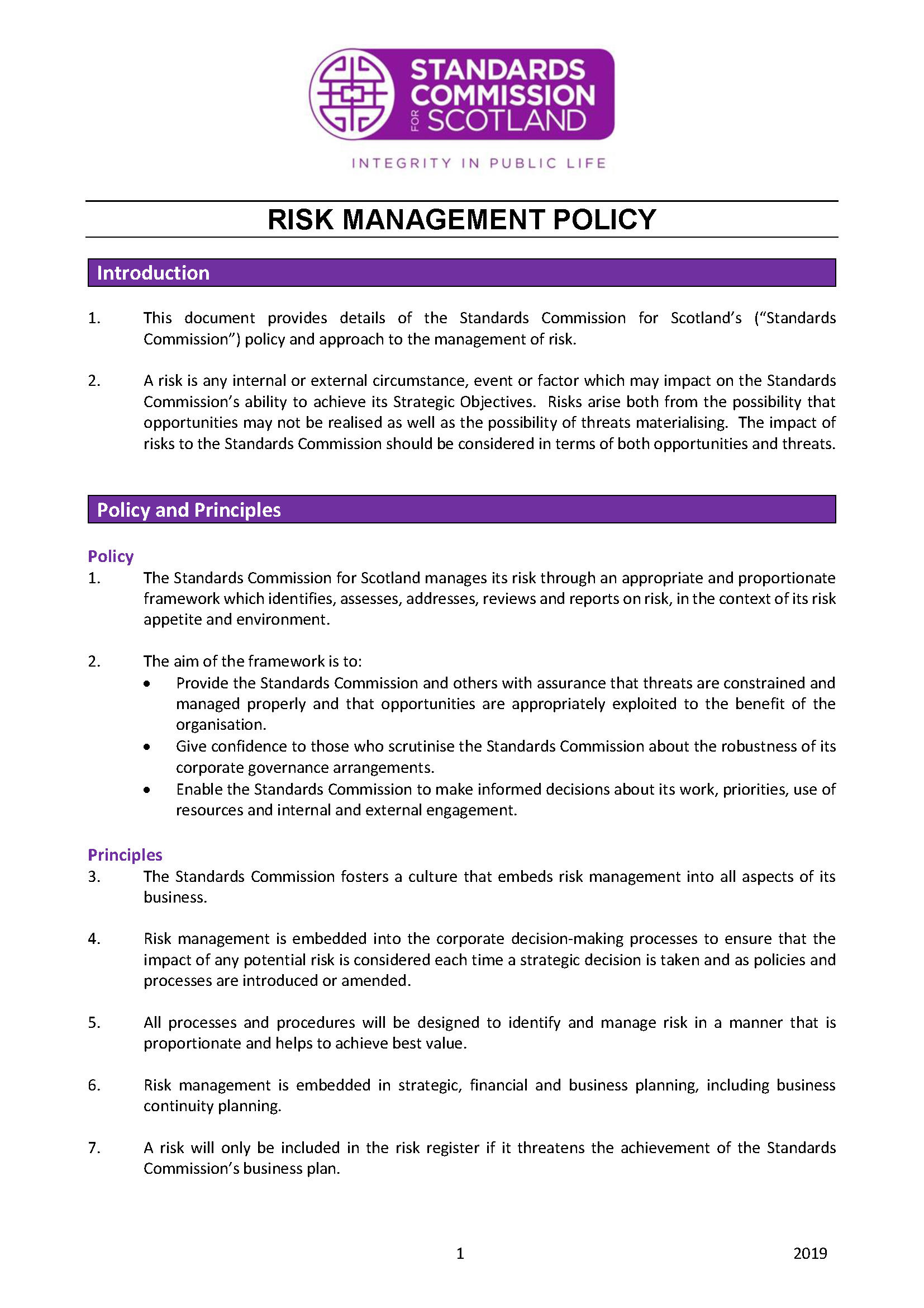 Risk Management Policy